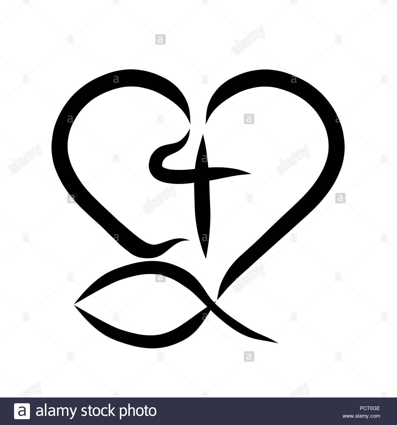 Christian Fish Symbol Black And White Stock Photos Images Alamy