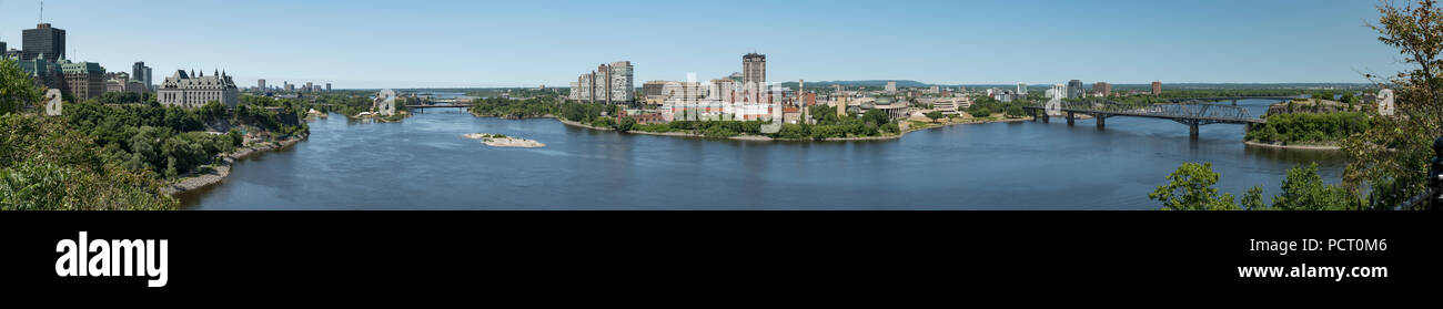 Gatineau, Quebec, Canada.  Panoramic view looking across Ottawa River from Parliament Hill in Ottawa, Ontario.  Gatineau in middle, Ottawa at sides. Stock Photo