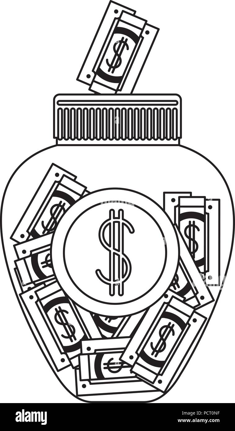 jar with bills money - Stock Image