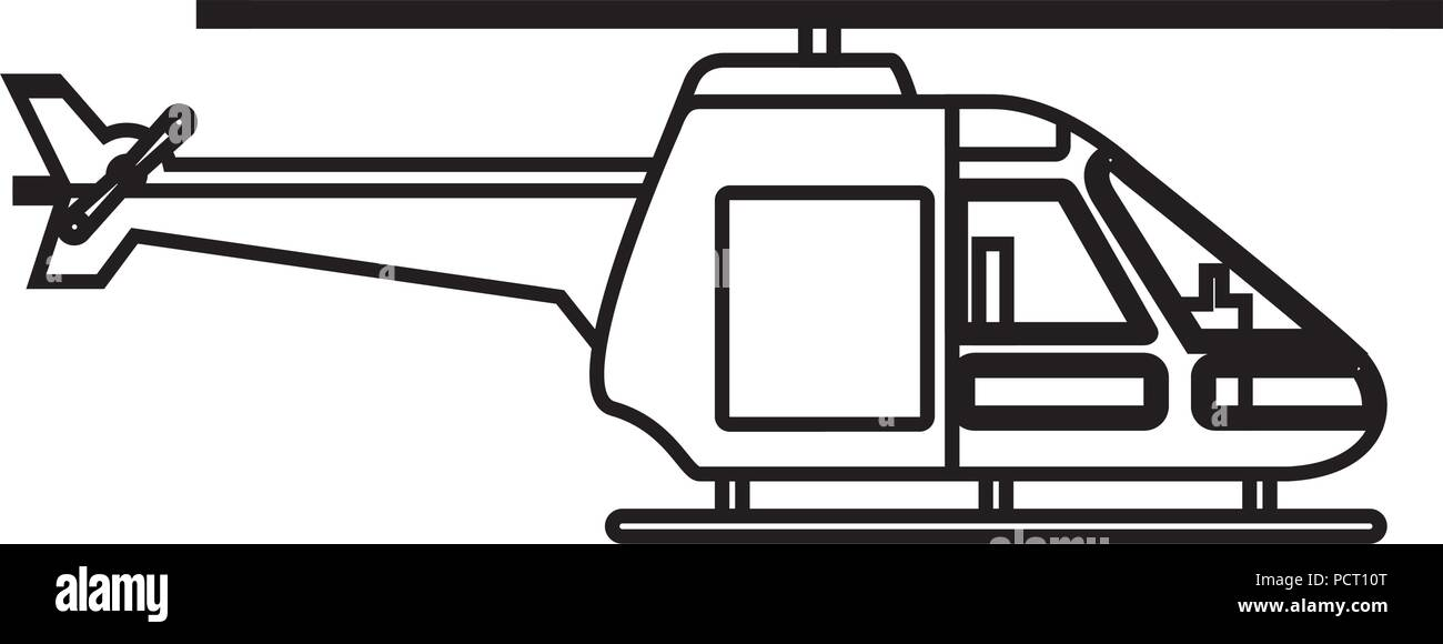 helicopter vehicle isolated icon - Stock Vector