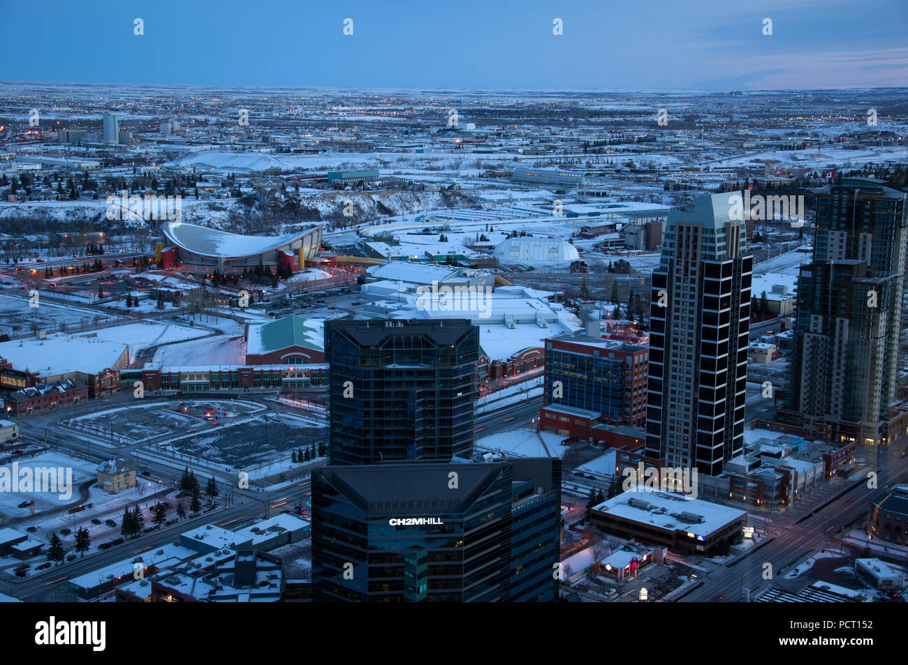 Calgary Saddledome and Stampede Grounds in the winter of 2010. - Stock Image