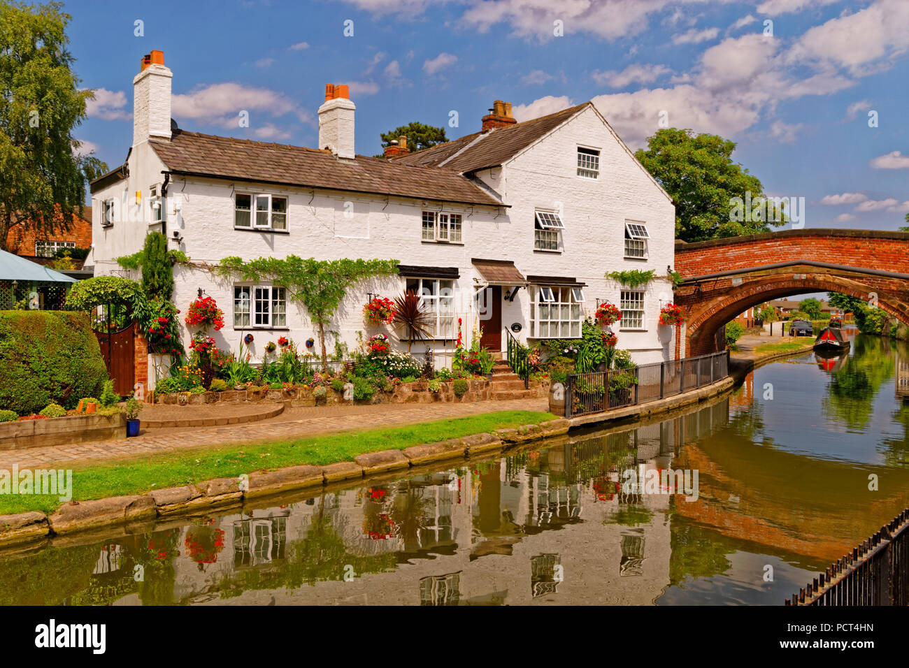 Bridgewater canal in Lymm village, Warrington, Cheshire, England, UK. - Stock Image