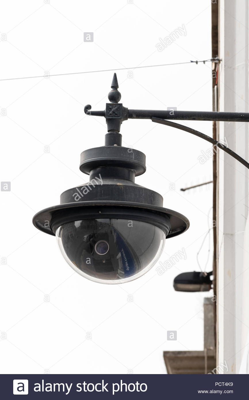 Town Centre CCTV security camera, Bridport, Dorset, England, Britain, Europe UK GB - Stock Image