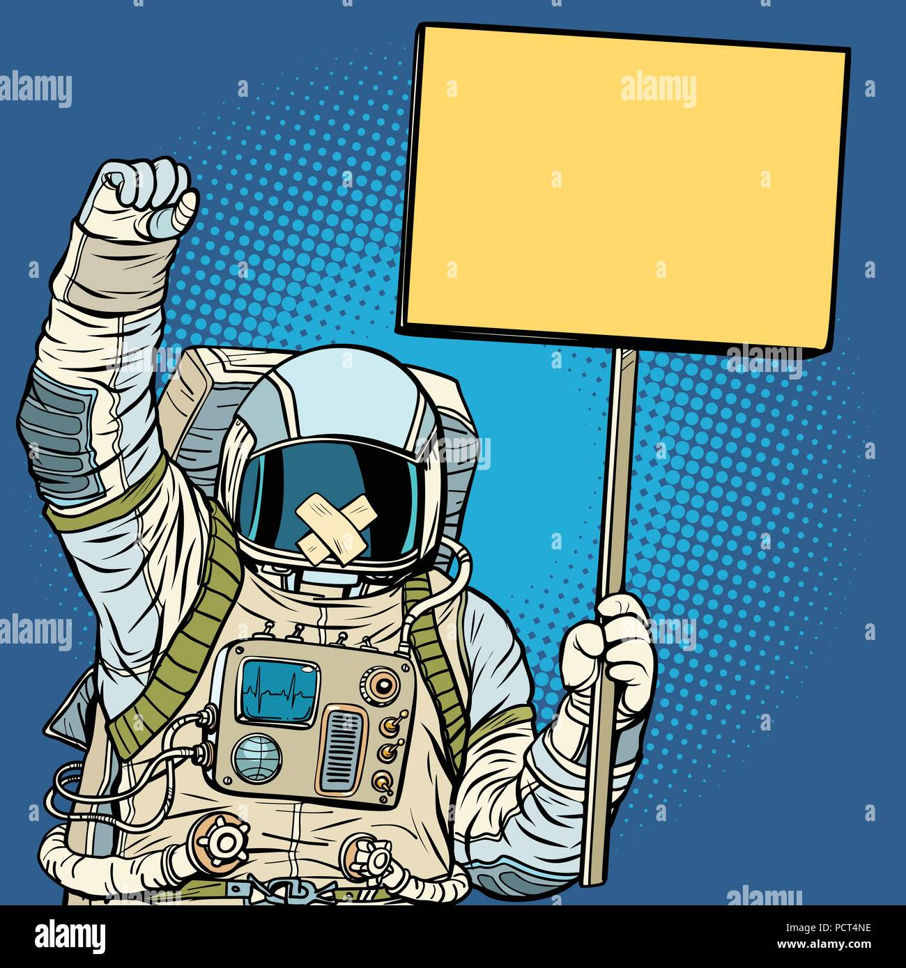 Astronaut with gag protesting for freedom of speech - Stock Image