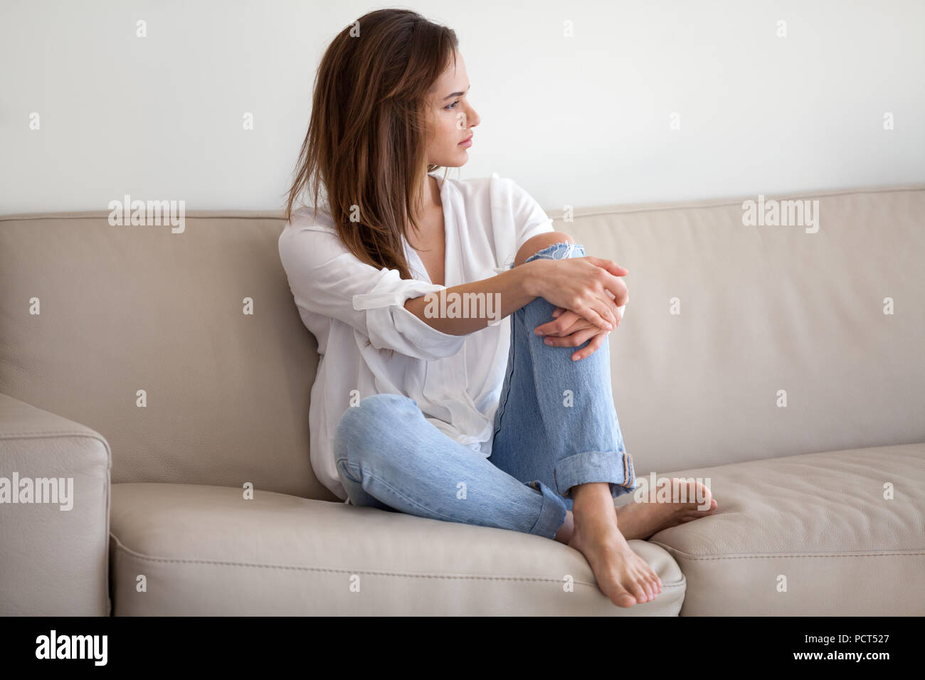 Sad Millennial Female Feeling Lonely Thinking About Relationship