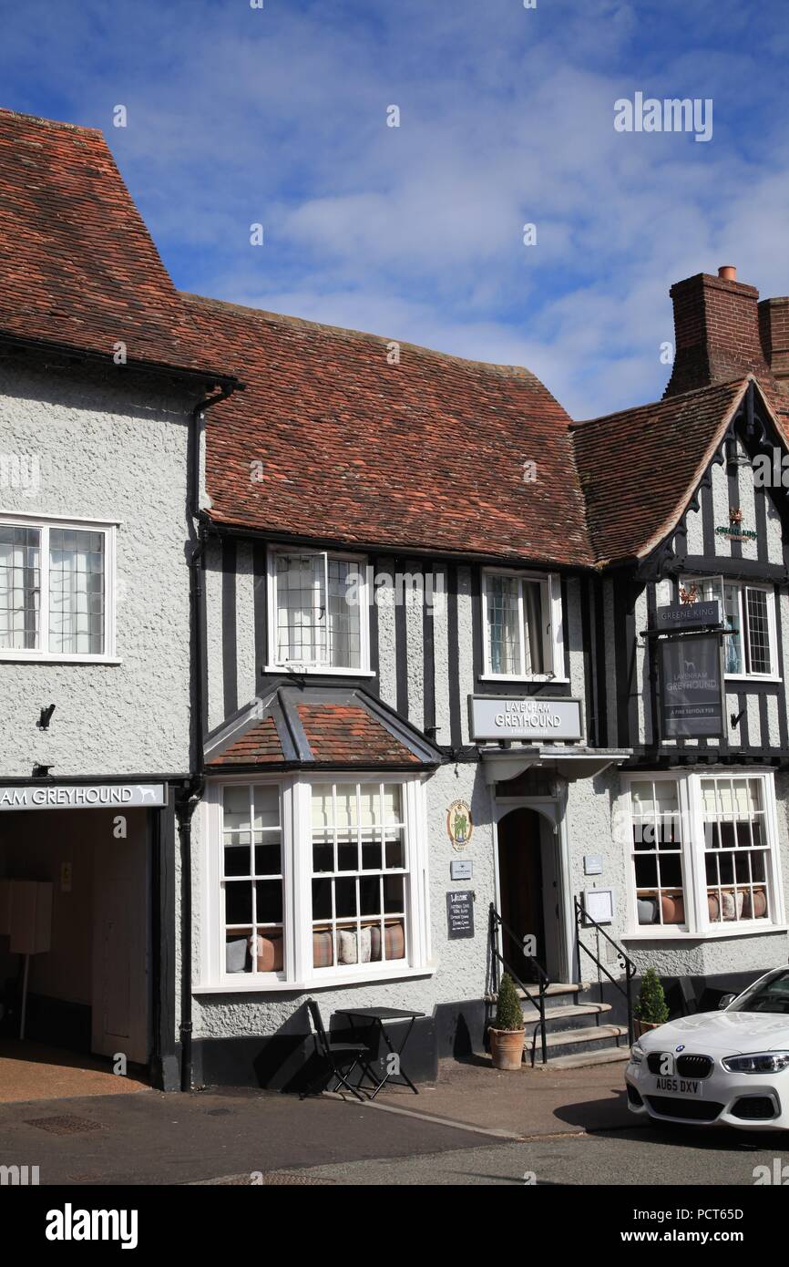 Medieval buildings in Lavenham Suffolk UK - Stock Image
