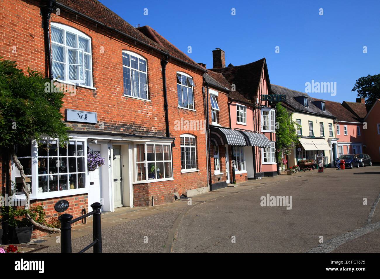 Half timbered Medieval buildings in Lavenham Suffolk UK - Stock Image