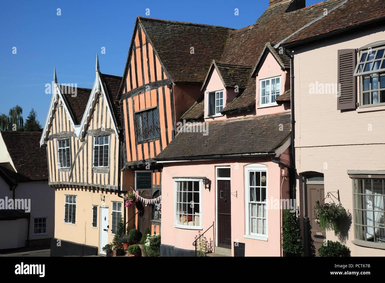 Half timbered Medieval buildings in Lavenham Suffolk UK - Stock Image