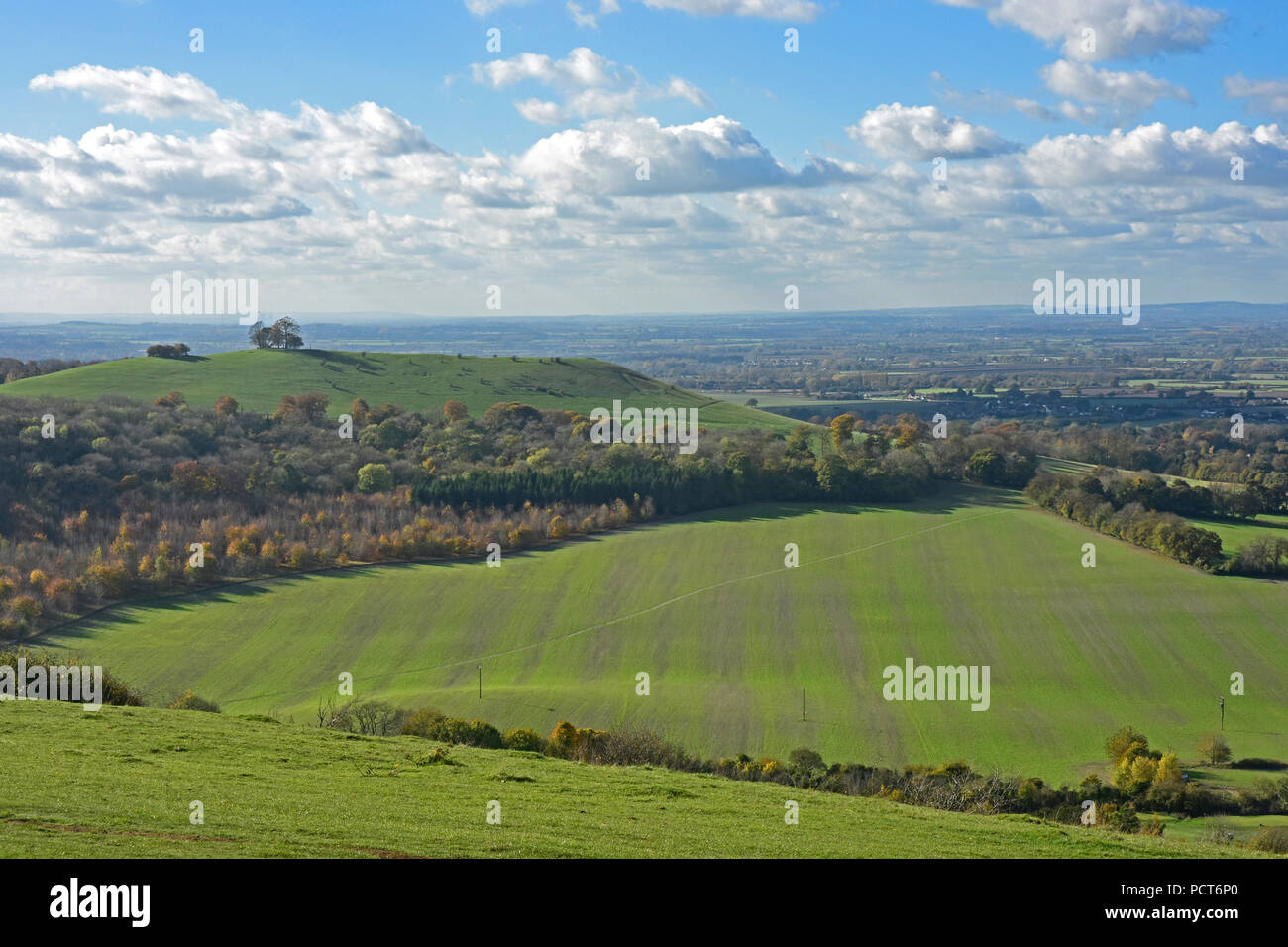 Bucks - Chiltern Hills - view from Coombe Hill to Beacon Hill - and Aylesbury Plain beyond. Early autumn colours - sunlight - Stock Image