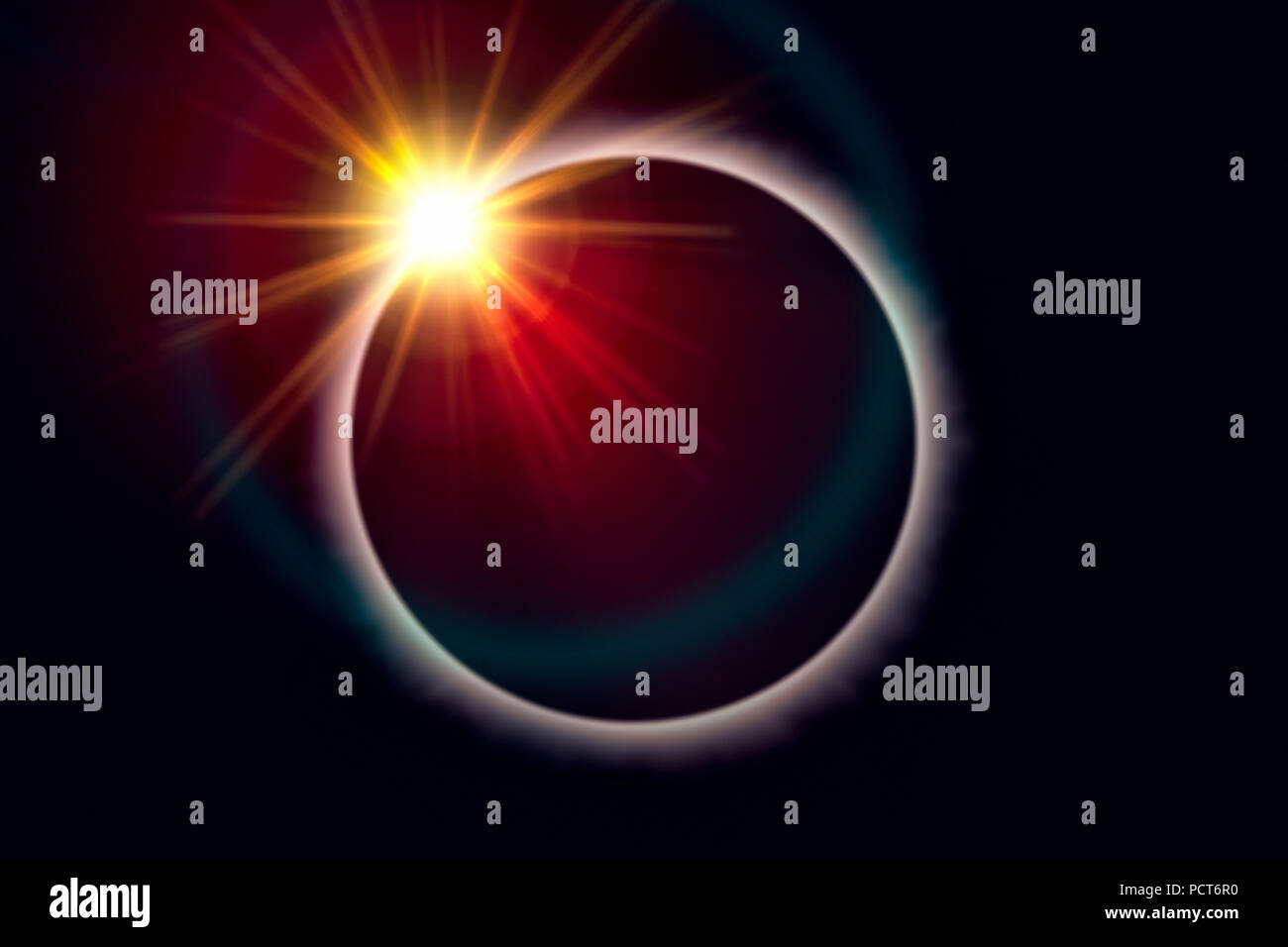 Total eclipse of the sun with diamond ring effect - Stock Image