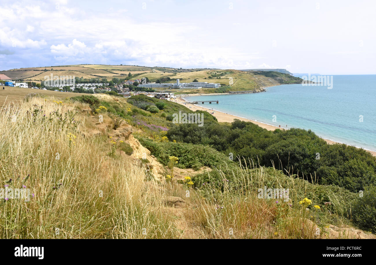 Dorset - Weymouth - clifftop view  - across the bay to the Riviera Hotel at Bowleaze Stock Photo