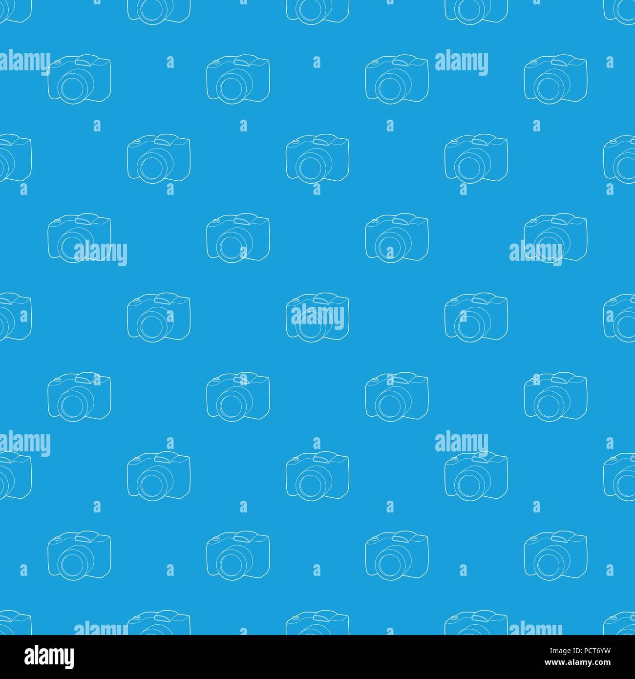 SLR camera pattern vector seamless blue Stock Vector