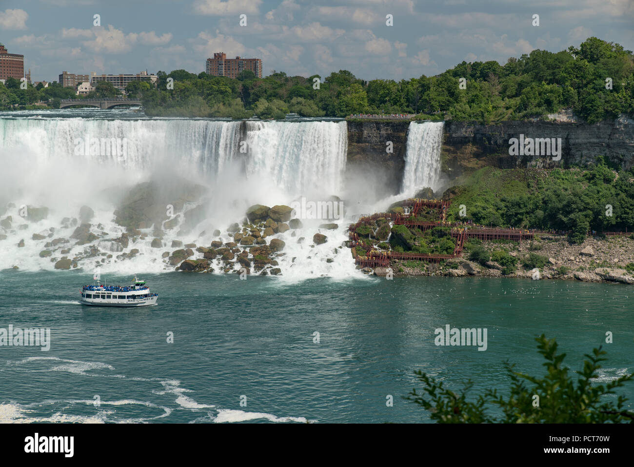 Niagara Falls Ny Usa View From Canadian Side Of Tourists