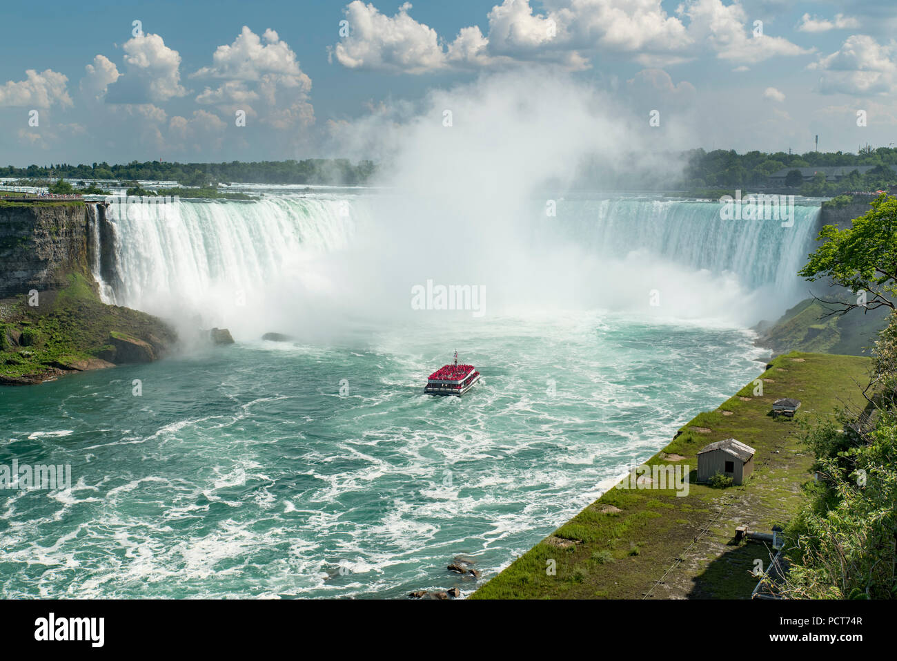 Niagara Falls Ontario Canada View From Canadian Side In Summer Of Tourists Viewing Canadian Horseshoe Falls From Top And From Tour Boat Hornblower Stock Photo Alamy