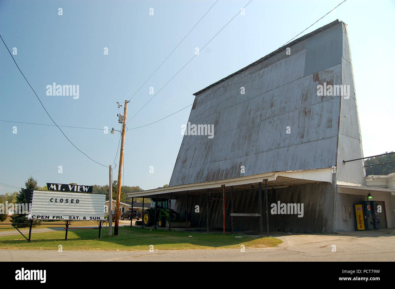 A vanishing remnant of a time long past, the Stanton Drive In Theater is closed for winter, but opens each summer to show movies. - Stock Image