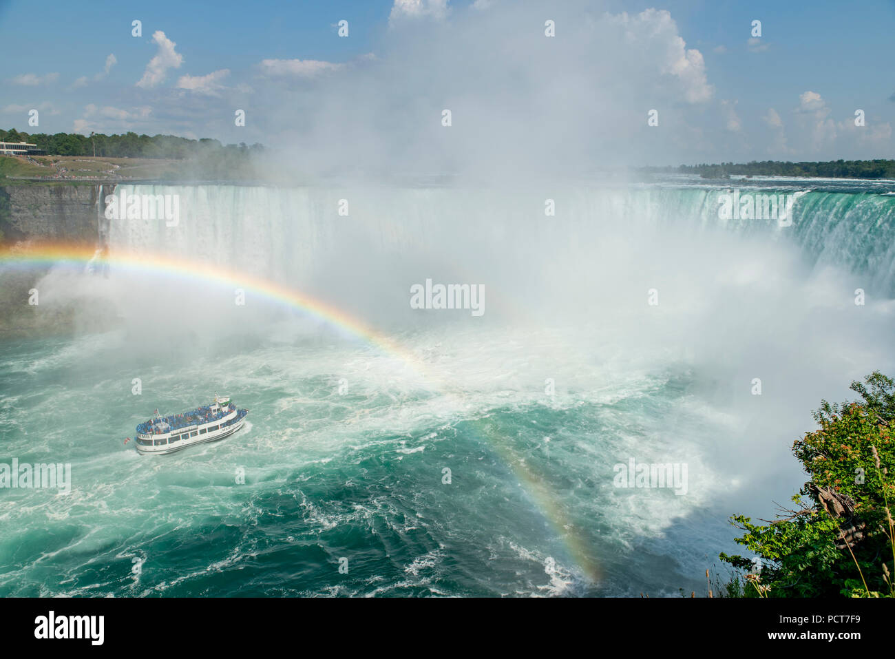 Niagara Falls Ontario Canada View From Canadian Side Of Horseshoe Falls In Summer And Tour Boat Maid Of The Mist Under A Rainbow On Niagara River Stock Photo Alamy