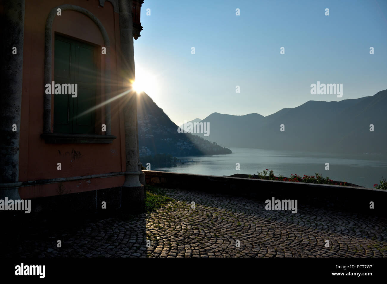 Sunrise from the Tessino park - Lugano Stock Photo