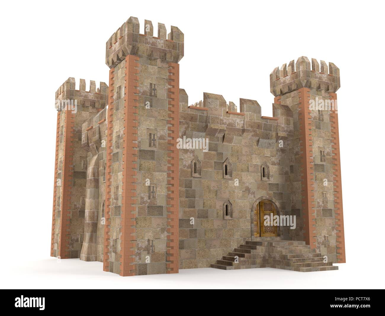 3d render stone brick stronghold isolated - Stock Image