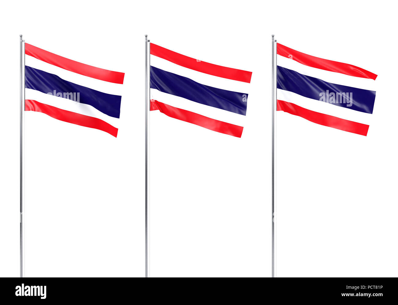 Flag of Thailand, 3D rendering - Stock Image