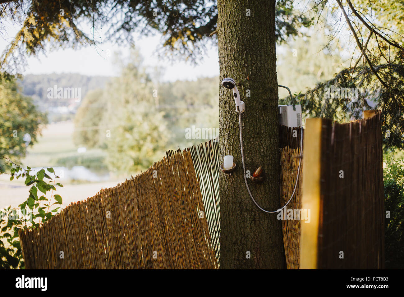 outdoor shower in a garden in germany Stock Photo