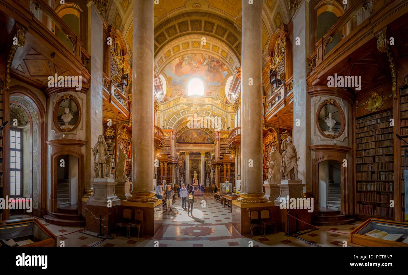 Europa, Österreich, Wien, Innere Stadt, Innenstadt, Hofburg, Nationalbibliothek, Bibliothek, Vienna, Austria, architecture, capital - Stock Image