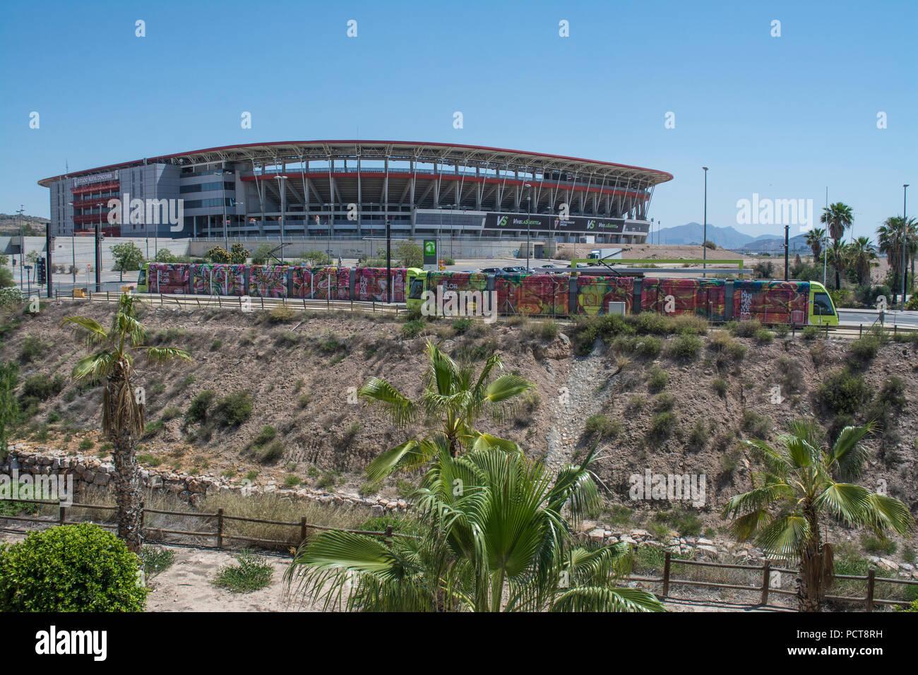 Tram outside the Estadio Nueva Condomina home of Spanish football team Real Murcia - Stock Image