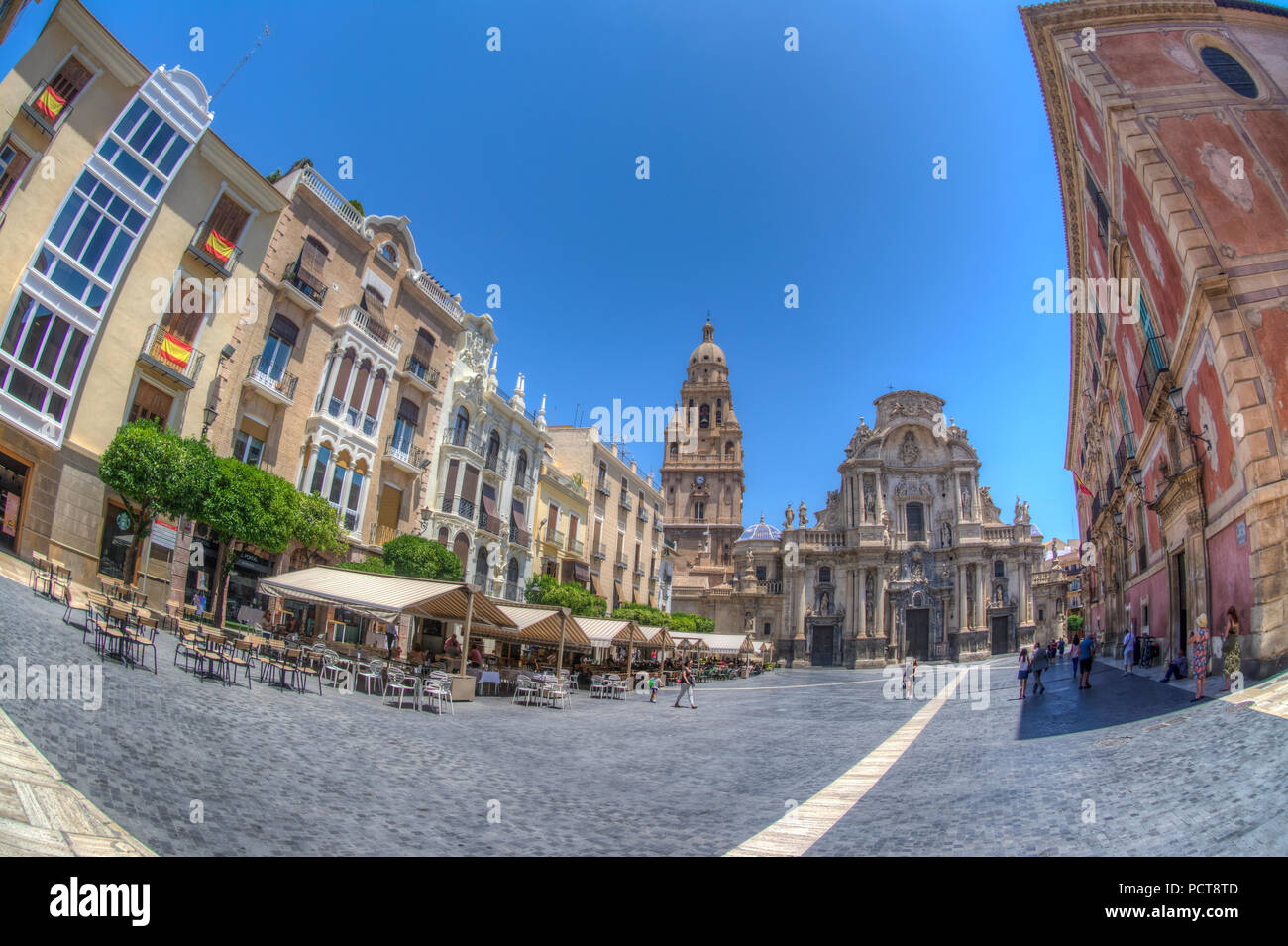 HDR image of the Plaza del Cardenal Belluga with Murcia Cathedral and Bell Tower, Murcia Spain - Stock Image