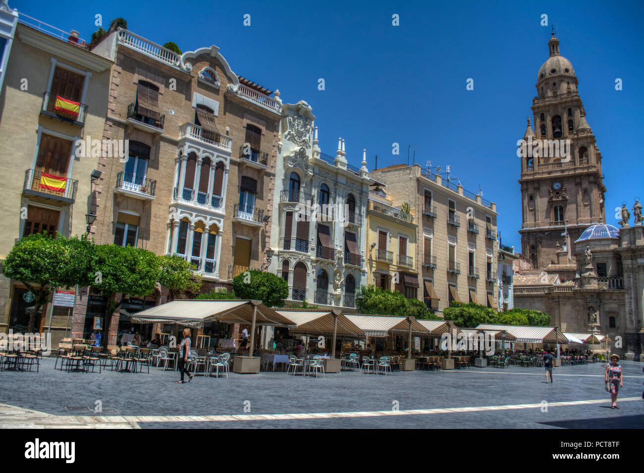 HDR image of the Plaza del Cardenal Belluga with apartments and Bell Tower, Murcia Spain Stock Photo