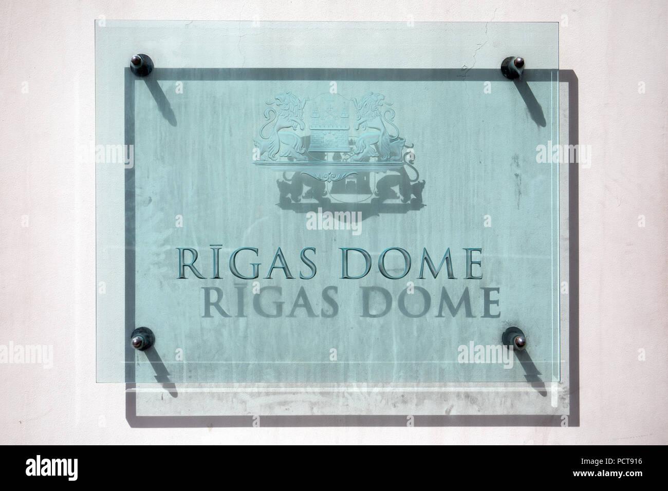 Inscription Town hall of Riga in Latvian - Rigas dome - Stock Image