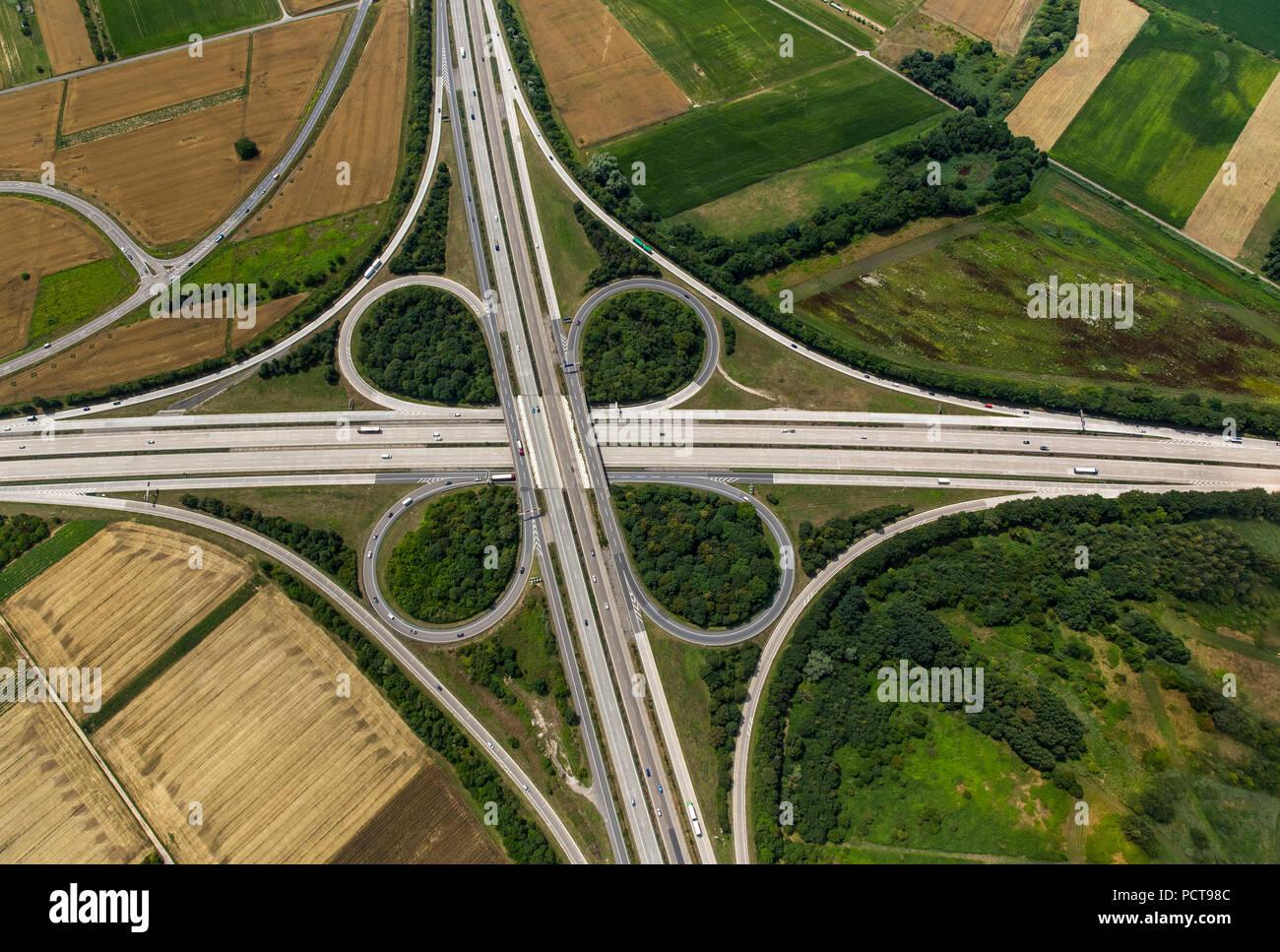 Autobahnkreuz Walldorf interchange, A5 and A6 Autobahnen (motorways), cloverleaf interchange, Walldorf, Baden-Wuerttemberg, Germany - Stock Image