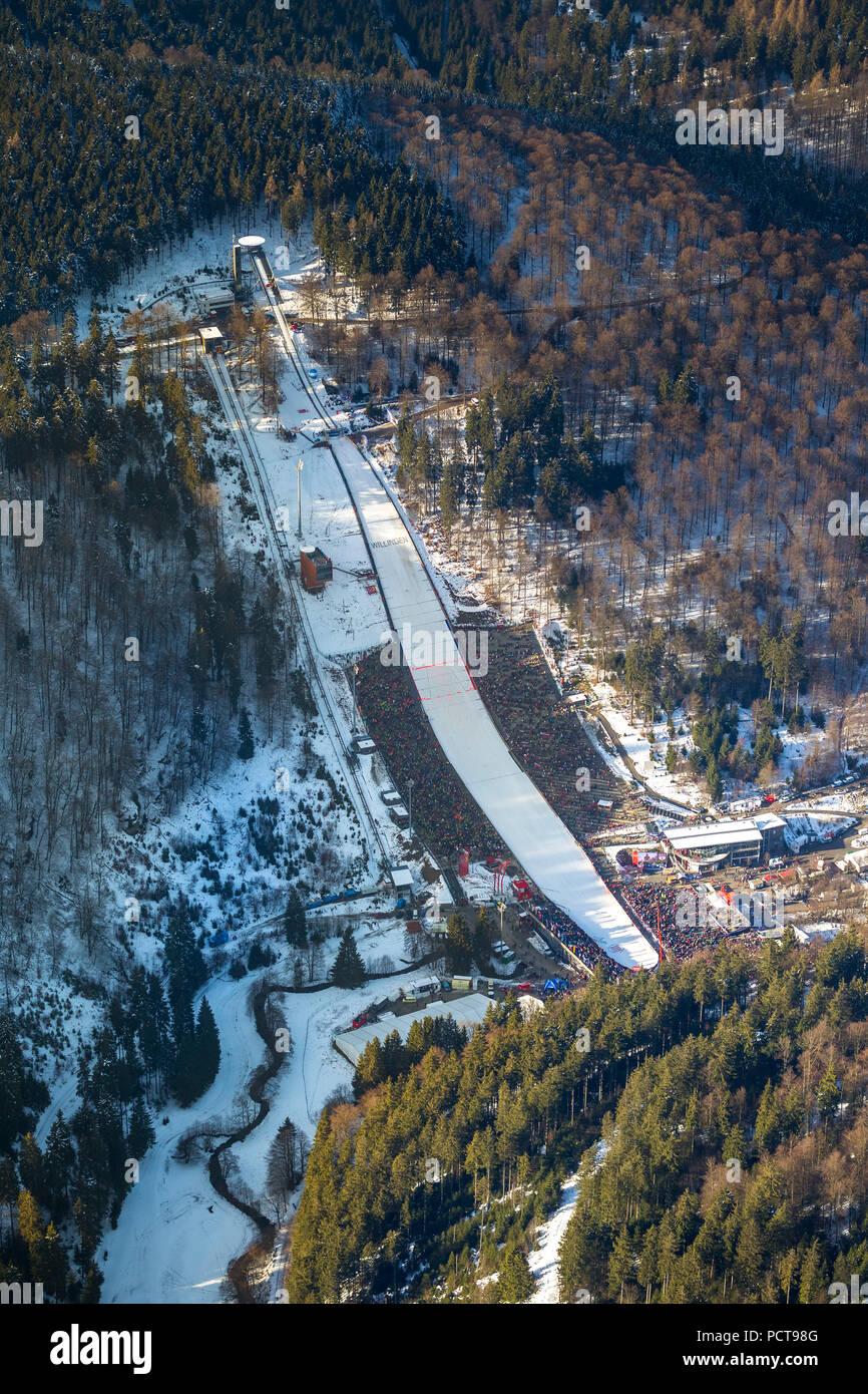 Willingen Ski Jumping World Cup 2014, Mühlenkopfschanze ski jump, Willingen (Upland), spectators, Hochsauerland (district), Hesse, Germany - Stock Image