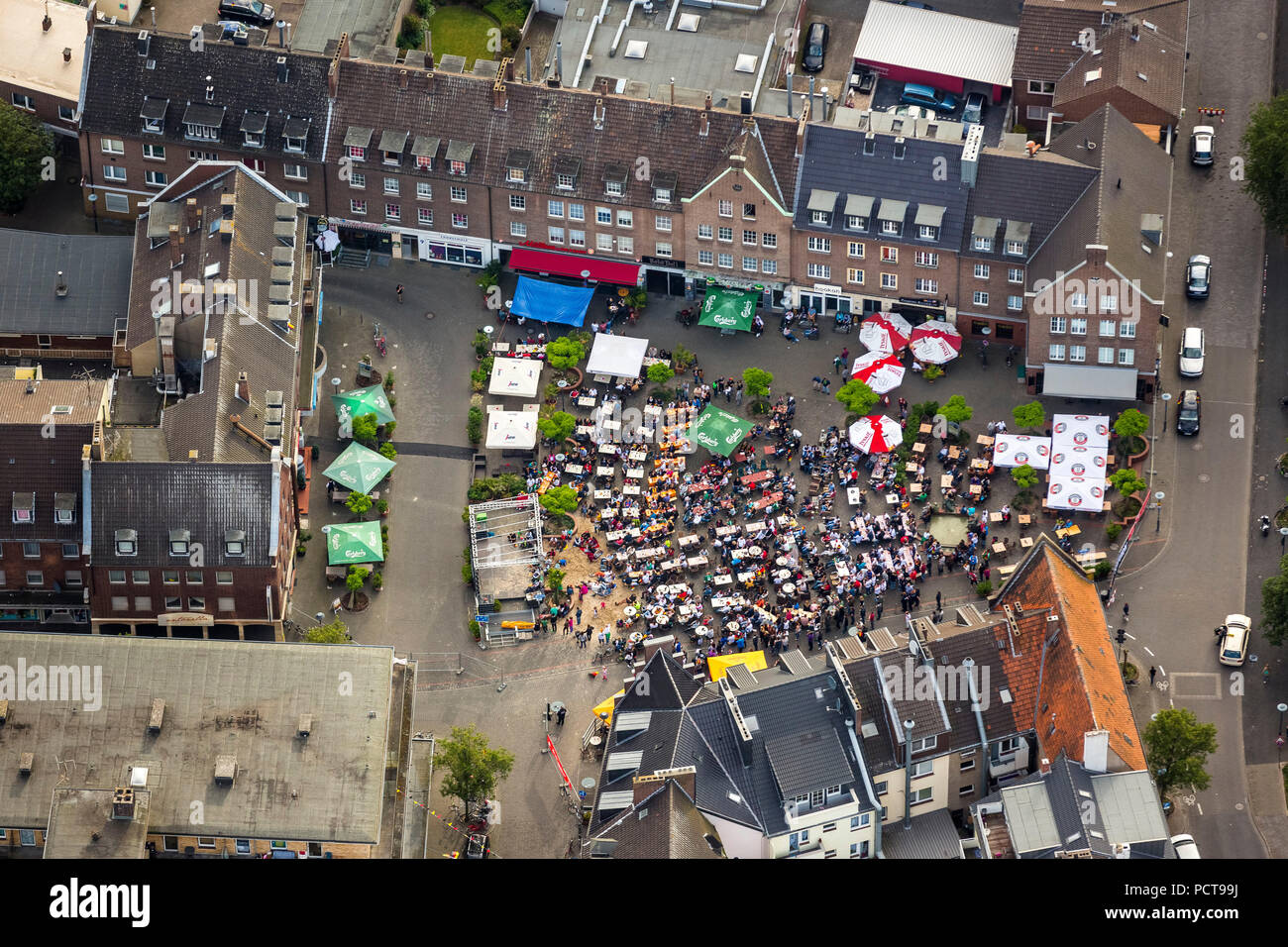 Football World Cup 2014, aerial photo, public screening on Kornmarkt square at Wesel, Wesel, Lower Rhine, North Rhine-Westphalia, Germany - Stock Image
