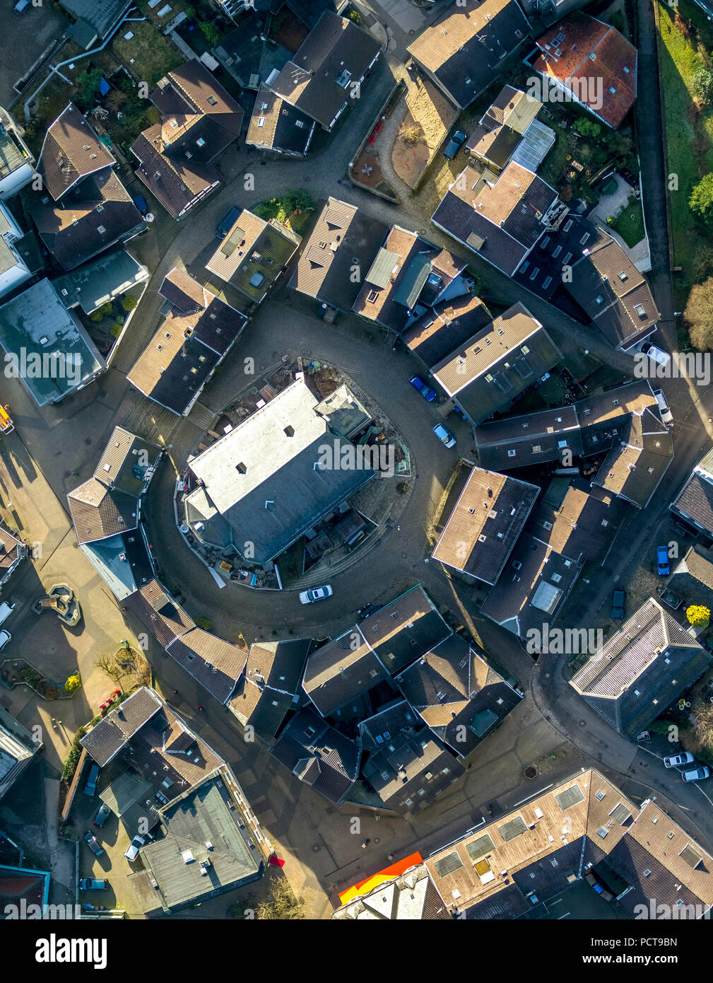 Town Centre of Neviges, Evangelical Church, Neviges, Velbert, Ruhr area - Stock Image