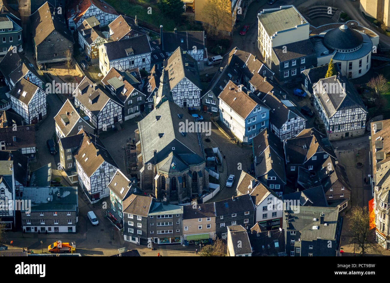 Town centre of Neviges, Protestant Church, Neviges, Velbert, Ruhr area - Stock Image