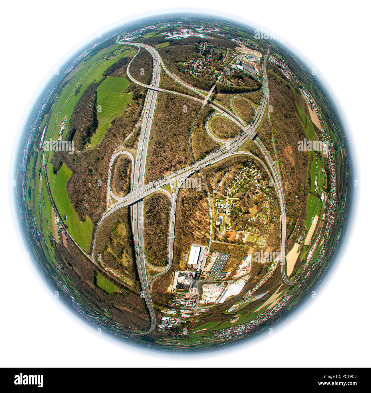 Autobahnkreuz Wuppertal Nord interchange, A1 and A43 and A46 Autobahnen (motorways) at Sprockhövel Haßlinghausen, aerial photo, fisheye lens, Ruhr area - Stock Image