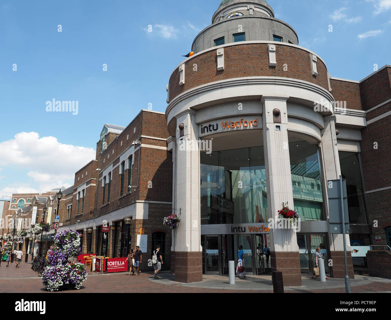 View of an entrance to the Intu shopping centre in Watford town centre. Stock Photo
