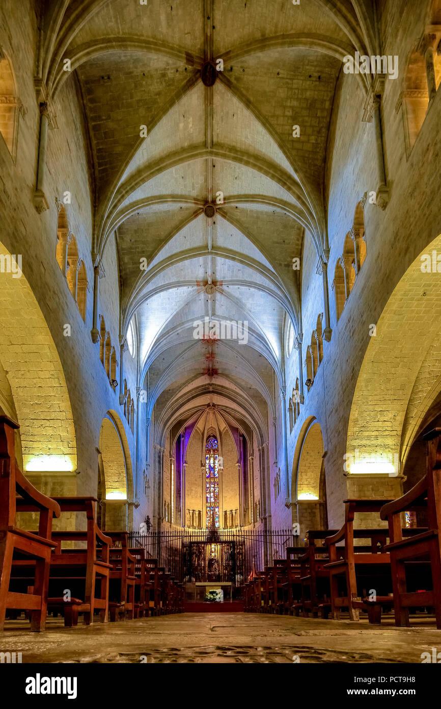 Nave of Sant Feliu, Collegiate church of Saint Felix, Girona, Catalonia, Spain Stock Photo