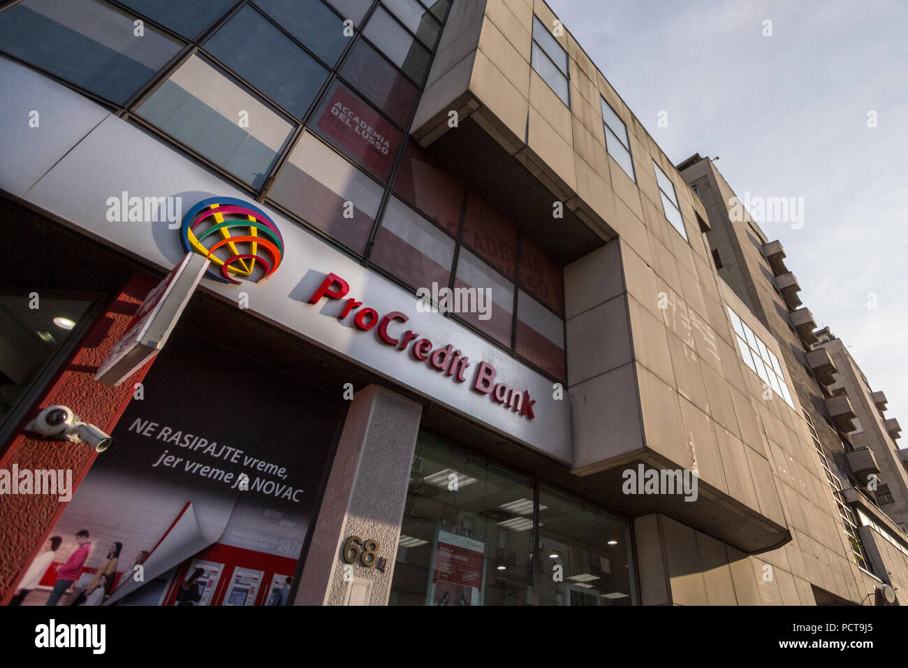 BELGRADE, SERBIA - JULY 25, 2018: ProCreditBank logo on their main office for Serbia. Pro Credit Bank is a German financial institution specialized in - Stock Image