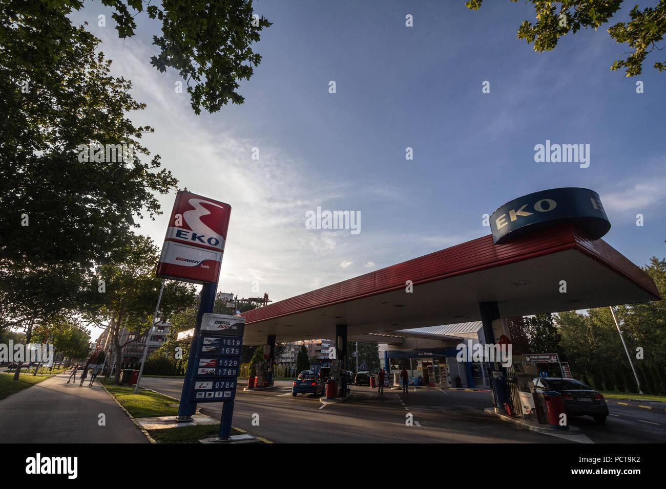 BELGRADE, SERBIA - JULY 26, 2018: EKO logo on their gas station in New Belgrade. Member of Hellenic Petroleum, EKO is the main petrol stations and ene - Stock Image