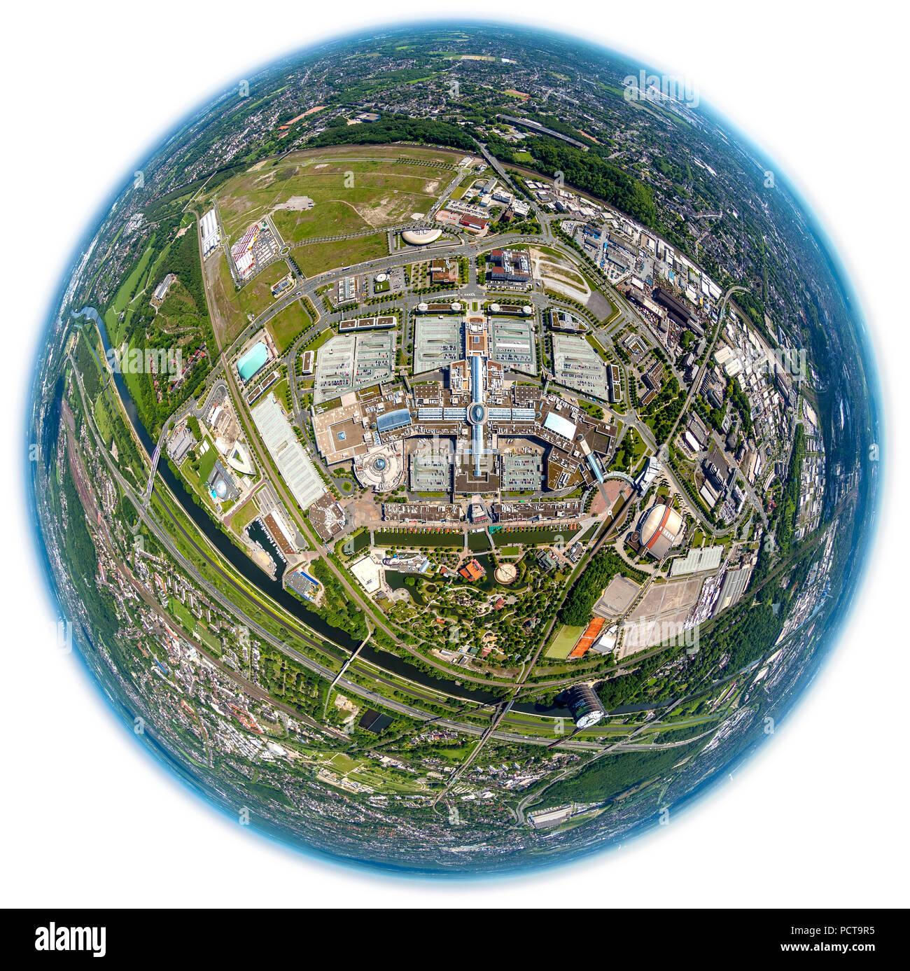 Fisheye lens, Centro Oberhausen, Neue Mitte, shopping mall, promenade, car park, view of Oberhausen, Oberhausen, Ruhr area, North Rhine-Westphalia, Germany Stock Photo