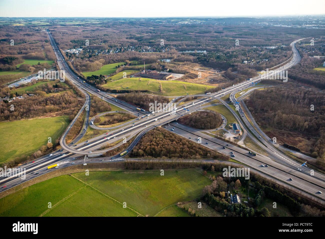 Aerial photo, Autobahnkreuz Breitscheid interchange, A3 and A52 Autobahnen (motorways), Ratingen, Rhineland - Stock Image