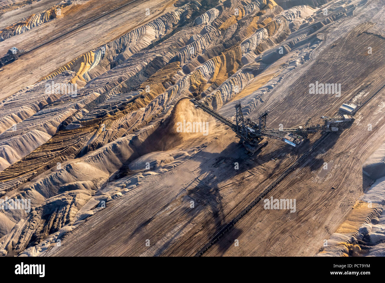 Hambach opencast mining, Hambach lignite mine, earth dumping, lignite excavator, Niederzier, Jülich-Zülpich Börde, North Rhine-Westphalia, Germany - Stock Image