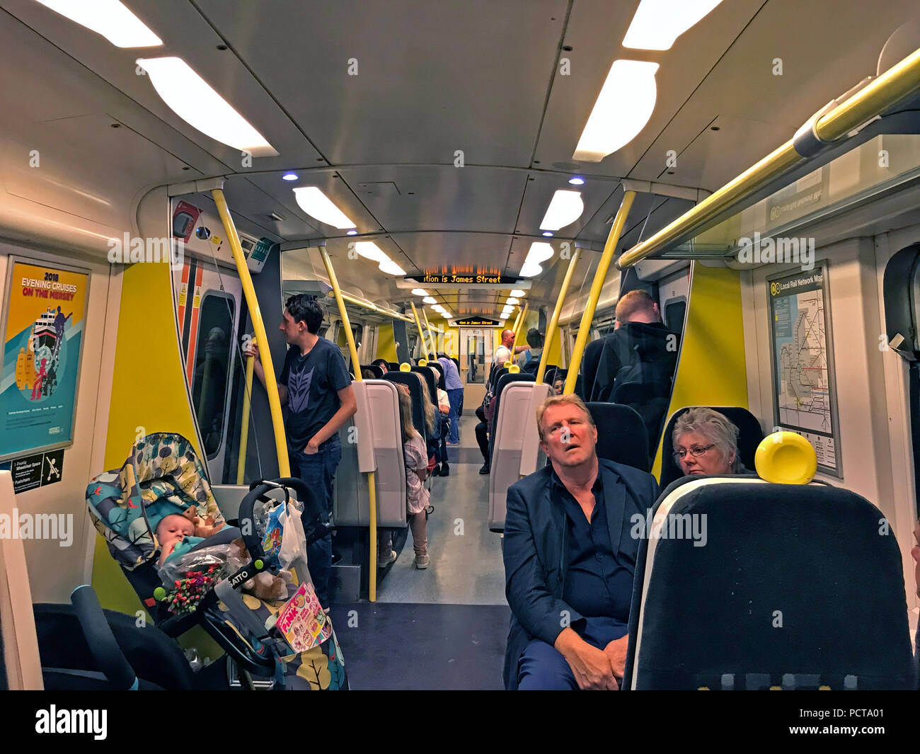 Interior of a Merseyrail Wirral Line Train, Liverpool City Region, Merseyside, North West England, UK - Stock Image