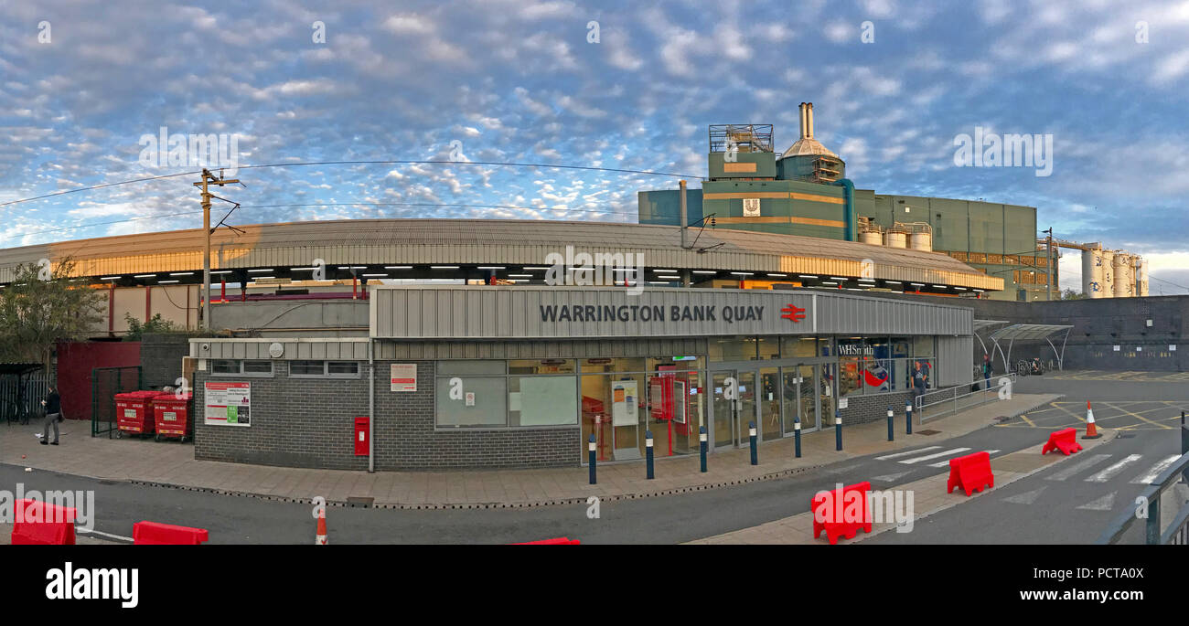 Warrington Bank Quay Railway Station panorama, West Coast Mainline, Warrington, Cheshire North West England, UK - Stock Image
