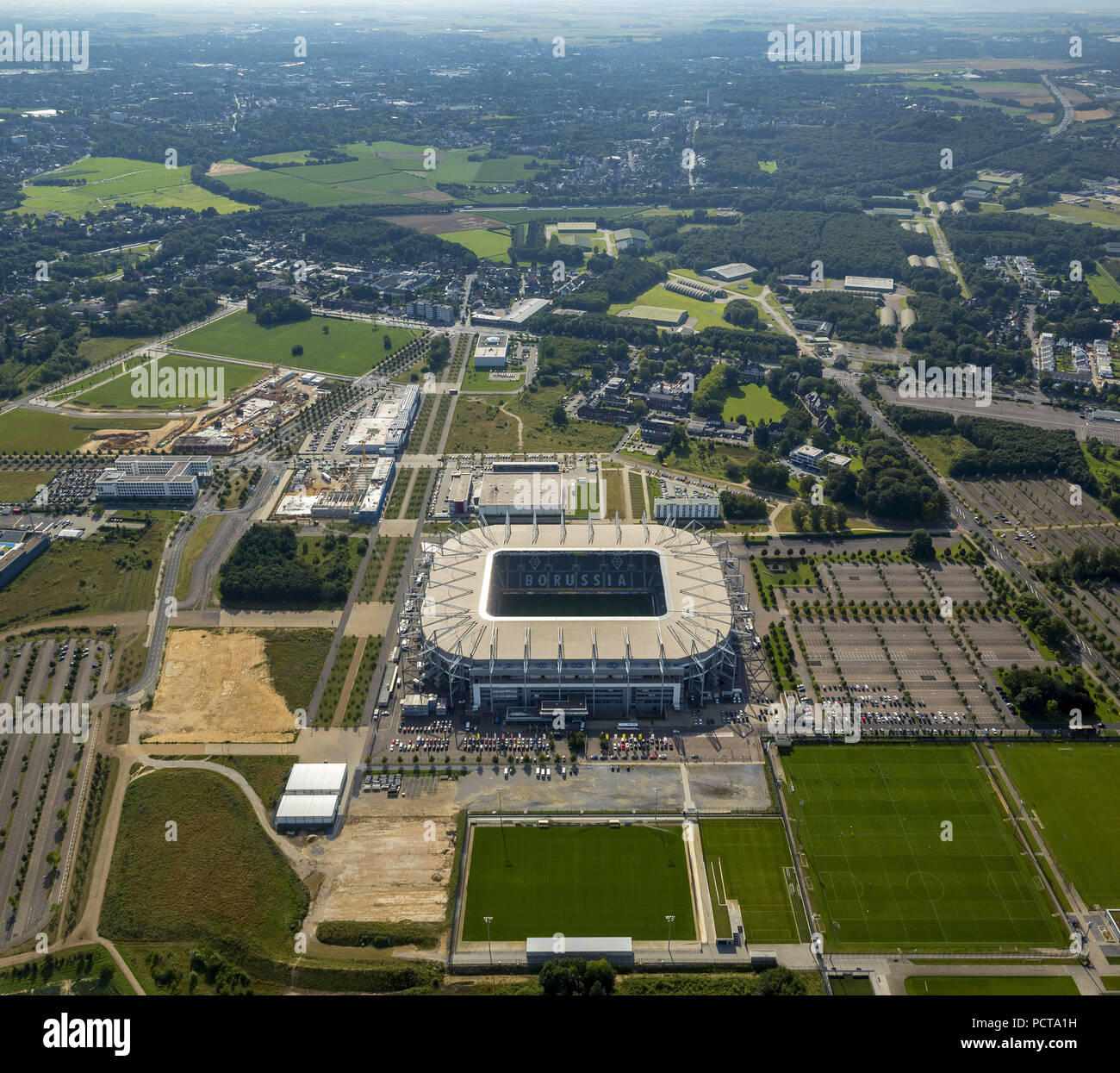Aerial photo, Mönchengladbach football stadium, BVB Mönchengladbach football club, Borussia-Park, Mönchengladbach, Lower Rhine, North Rhine-Westphalia, Germany - Stock Image
