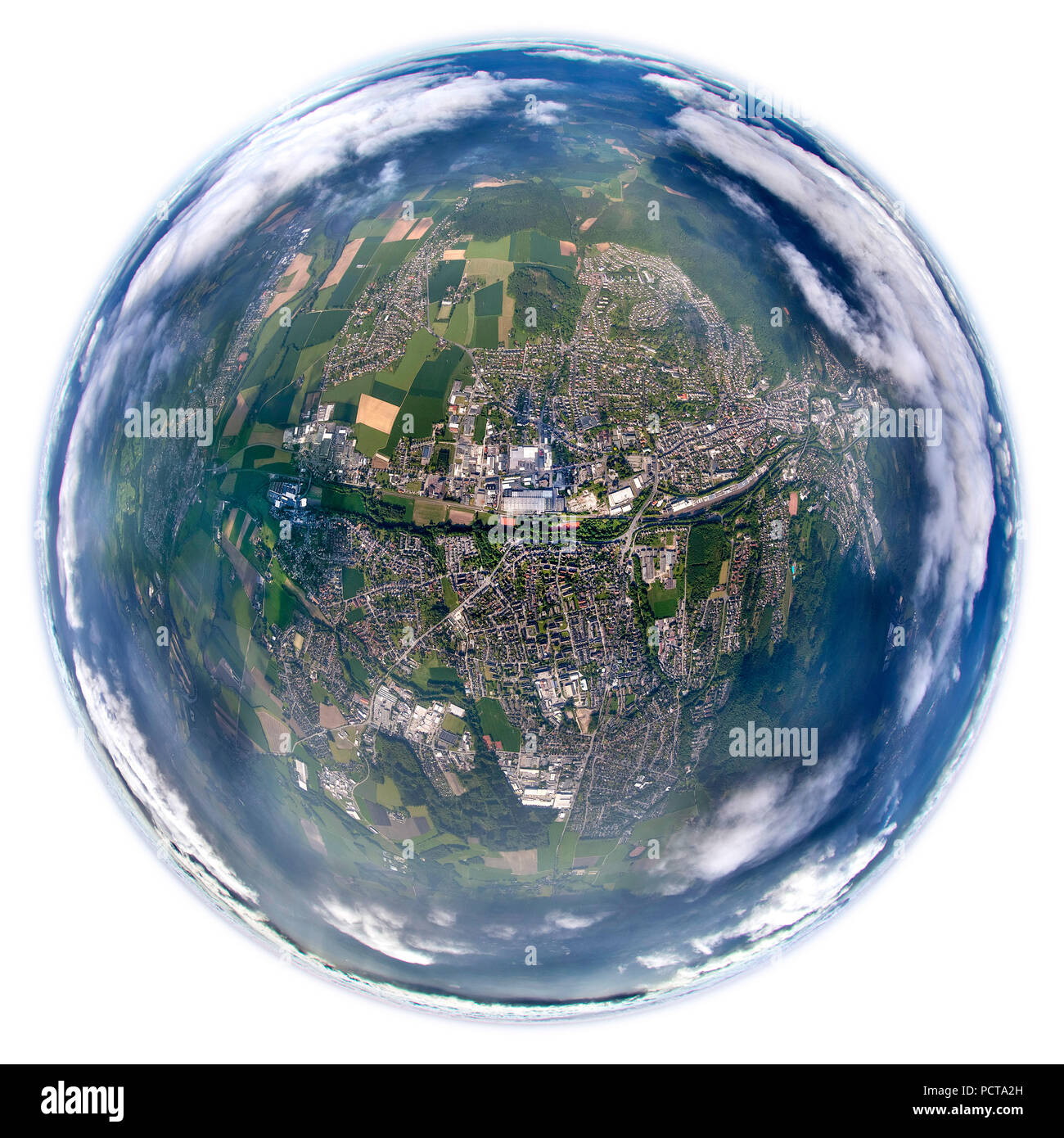 Fisheye lens, view of Menden, view through the cloud cover from an altitude of 5000 feet, Menden, Sauerland, North Rhine-Westphalia, Germany Stock Photo