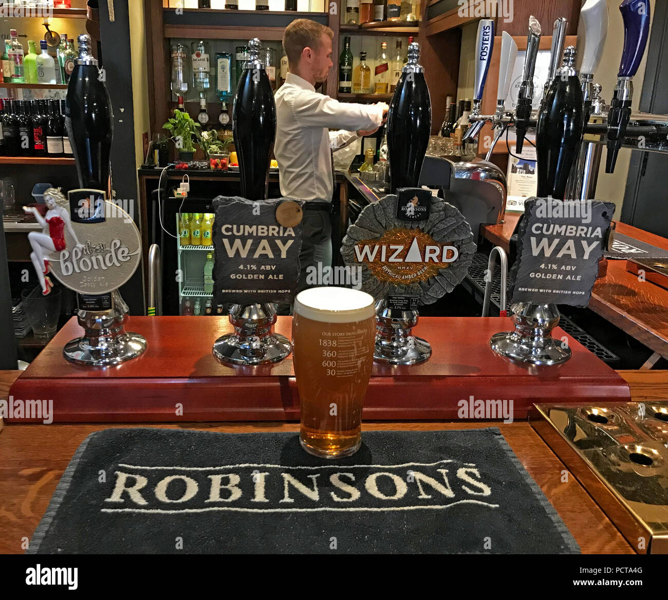 Frederic Robinson Ales, on a bar, Parr Arms,Grappenhall,Warrington,Cheshire,North West England,UK Stock Photo
