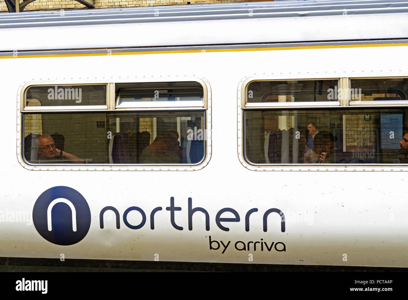Northern By Arriva logo on train carriage, Warrington Central Station, Cheshire, North West England, UK - Stock Image