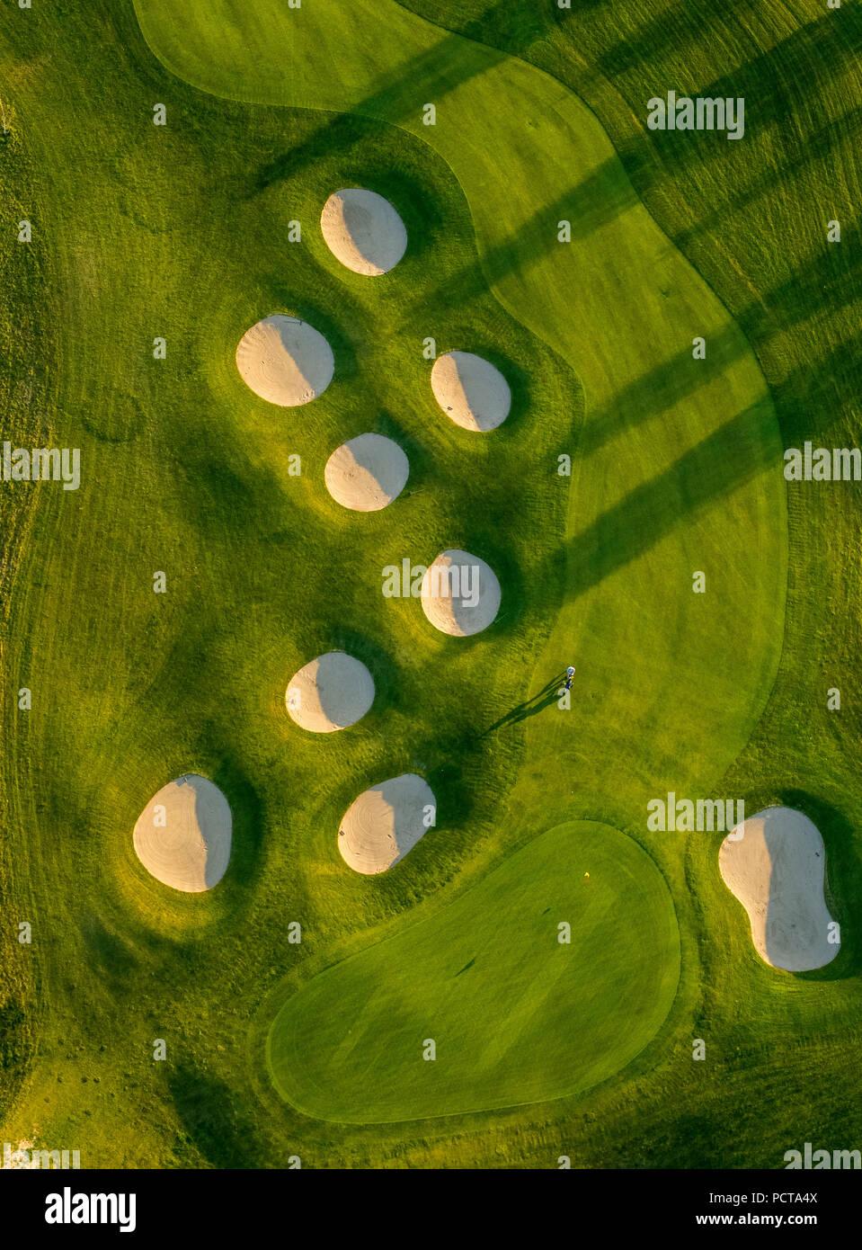 Sand traps, hazards, bunkers, Fleesensee Golf Club, GC Fleesensee, Fleesensee Golf School, golf course, Göhren-Lebbin, Mecklenburg Lake Plateau, Mecklenburg-Western Pomerania, Germany - Stock Image