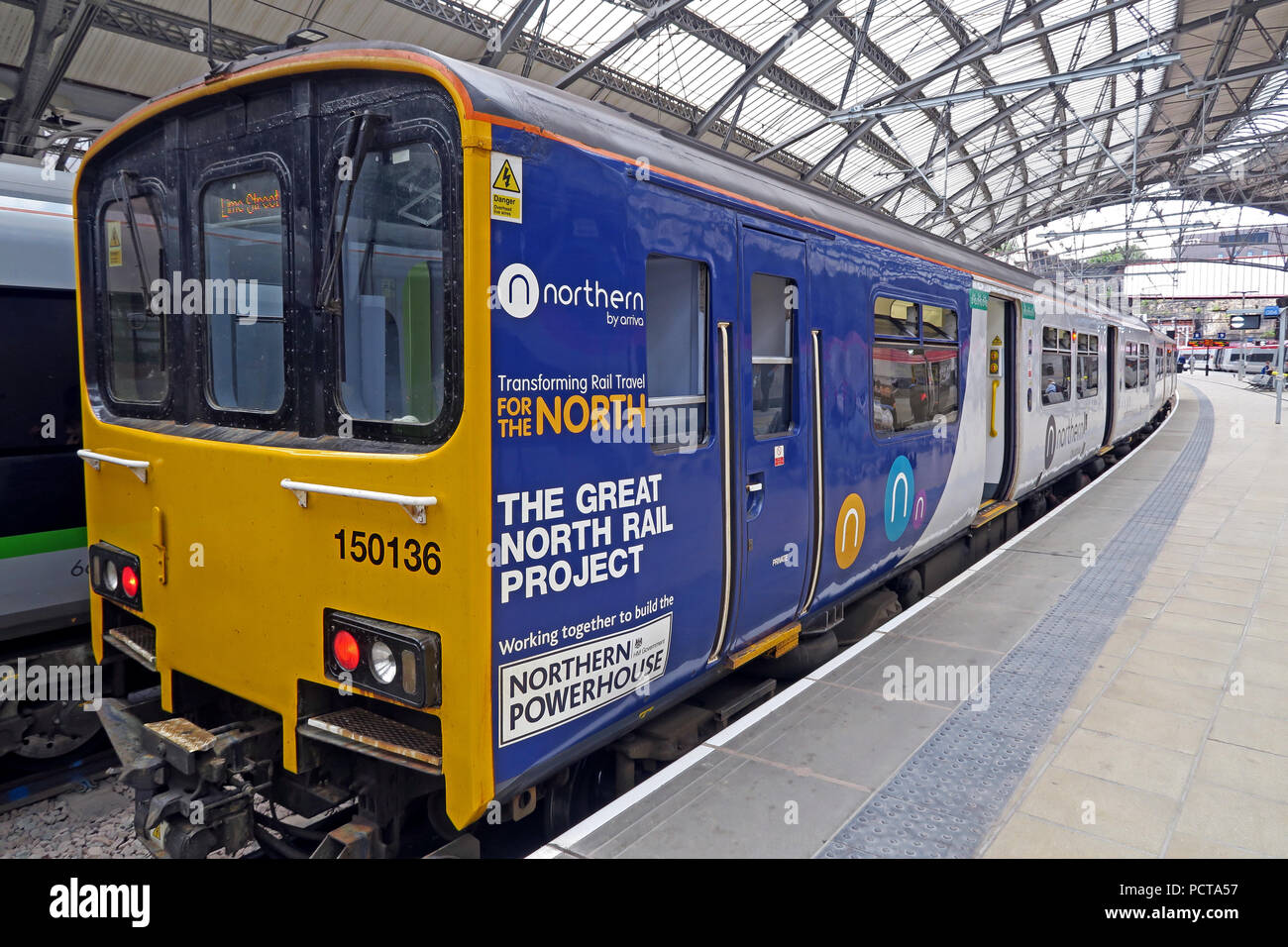Northern Railway Train, DMU, Lime Street Railway Station, Liverpool, Merseyside, North West England, UK - Stock Image